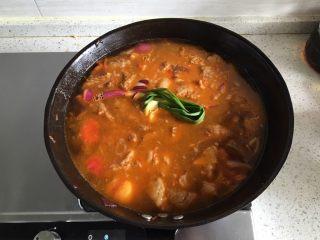 家常必备|土豆炖牛肉,倒入一整锅的清水,香葱一根打结加入,加入一小块拍扁的姜,大火烧开20分钟,转小火炖2小时以上