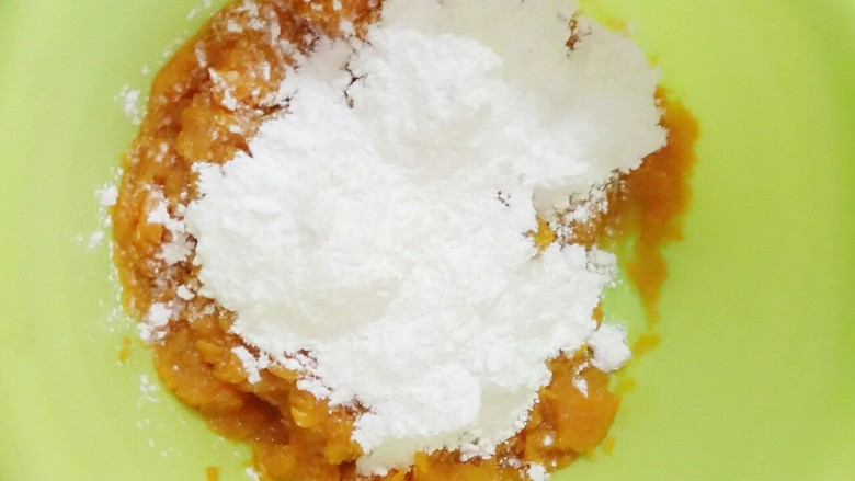 南瓜汤圆,换个大点的盆子然后再加上木薯粉