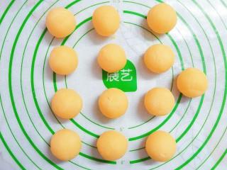 猪猪奶黄包,切成20g一个的小剂子,揉成圆球!