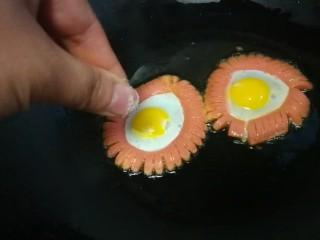 火腿肠太阳蛋,撒少许盐