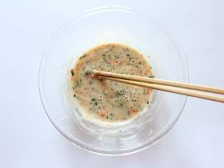 胡萝卜蛋饼(适合11个月龄以上宝宝),调成酸奶的稠度即可