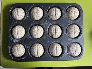 奇亚籽无糖小面包,用面包割刀在面团上割一刀