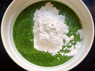 冬天的一抹绿~菠菜蛋饼,加入面粉