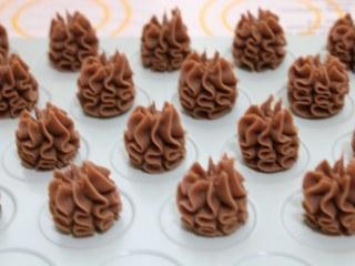 好吃到停不下来的珍妮曲奇小花(巧克力篇),8、烤盘中铺上烤纸,或者使用曲奇烤盘,挤上均匀的小花,注意之间隔开一点。