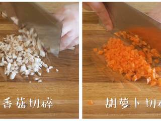 12m+鳕鱼软饭(宝宝辅食),然后,把香菇、胡萝卜、洋葱、西蓝花切碎~