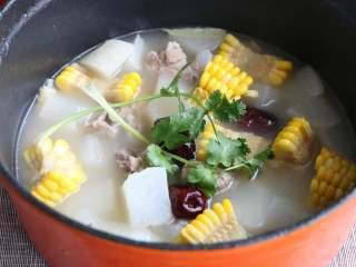 排骨白萝卜玉米煲汤,最后可以放些香菜
