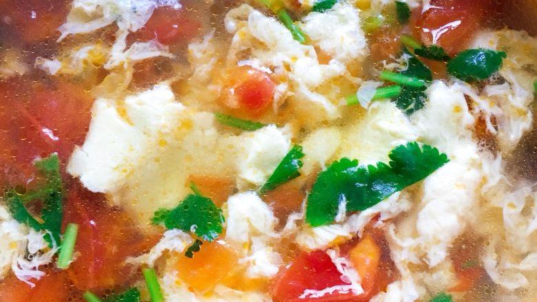 西红柿蛋花汤,美味的西红柿蛋花汤就做好啦!