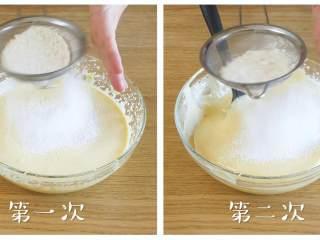 12m+无水蜂蜜蛋糕(宝宝辅食),分两次筛入面粉,每次筛入之后都要翻拌均匀~