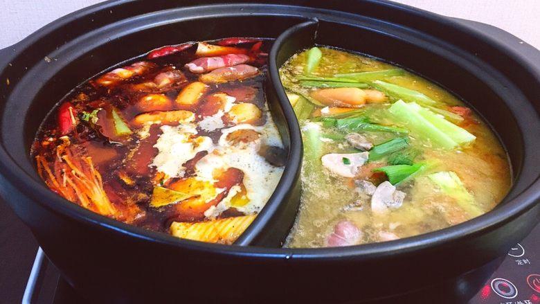 一锅俩用,清汤鲫鱼,辣汤重庆火锅
