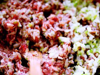 翡翠白玉蒸饺,把葱花和萝卜碎倒入牛肉馅里搅拌均匀