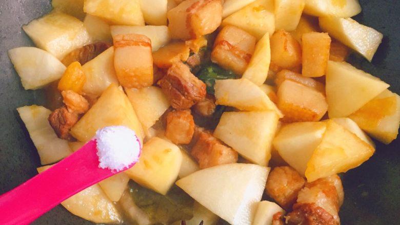 五花肉炖萝卜,加入适量盐,继续炖煮。
