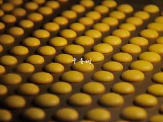 香浓蛋奶黄金豆,香浓黄金豆底部的边缘开始上色了,这个时候已经基本熟透了,再过1分钟,待所有的黄金豆底部边缘都已上色,就可以出炉了。
