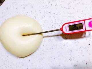 醇香松软奶酪包,此时可以测下面温,26-28度时面温最好,面温过高可以放在较凉的地方降温,温度较低可以一次发酵温度升高一些.