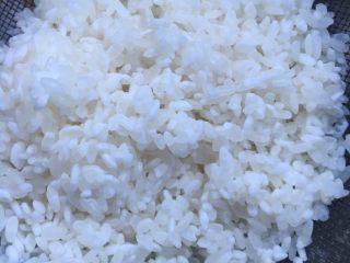 大虾干贝海鲜粥,大米沥干水分