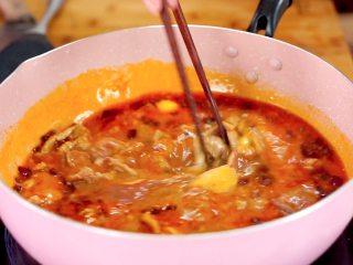开胃菜*薄荷水煮牛肉,水煮开后,下入牛肉烫熟