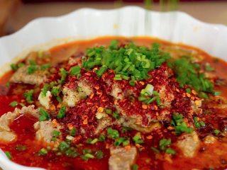开胃菜*薄荷水煮牛肉,撒上葱花