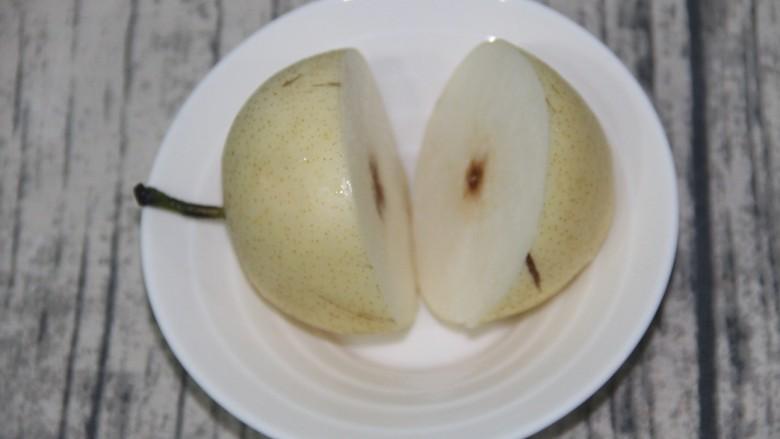 花椒蒸梨,梨切开