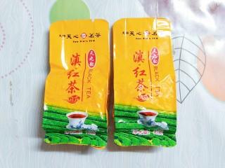 烧仙草红豆奶茶,准备好两小包干红茶叶!