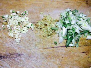 酸辣芥菜,葱姜蒜切沫备用