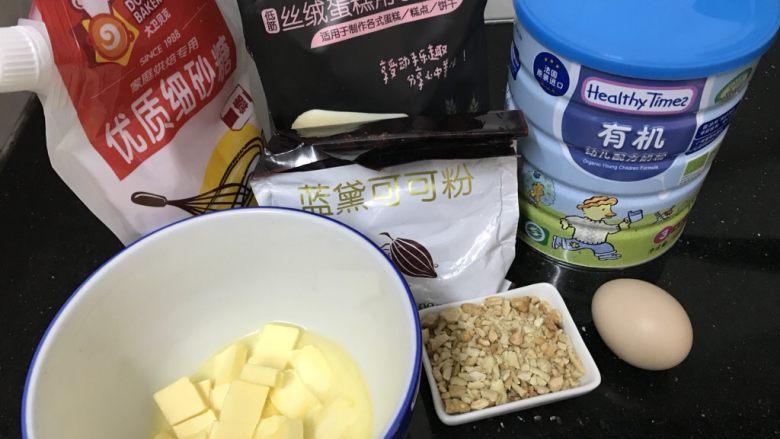 坚果可可小酥饼,坚果50g(花生,核桃,腰果混合) ps:坚果提前烘香或者炒香,然后压碎备用