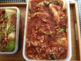 异域小菜-韩式辣白菜, 然后装入密封性能比较好的小盒内,入冰箱冷藏5-7天后开始食用,20-40天内味道最好