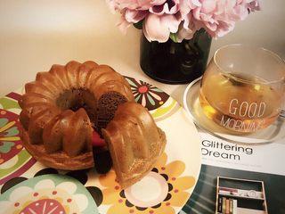 可可榛子萨瓦林蛋糕,切一块蛋糕配早餐茶,一天美好的时光开始啦……