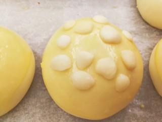 适合新手的一次性发酵酸奶小餐包,预热烤箱,180度10分钟左右,预热烤箱的同时,餐包胚表面刷上蛋液,放上杏仁片(或者芝麻)