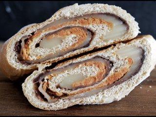 全麦豆沙麻薯肉松软欧面包