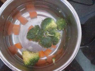 胡萝卜西兰花蛋黄猪肉小馄饨,将胡萝卜和西兰花切块,放入锅中焯一下水