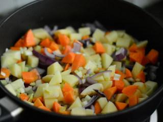 番茄牛肉杂蔬汤,放入土豆、胡萝卜、西芹翻炒均匀