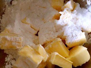 可可曲奇,糖粉和黄油混合,并加入少许盐