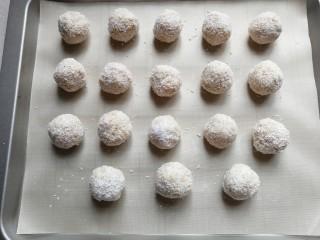 燕麦椰蓉球,依次裹完所有小团摆入烤盘中;