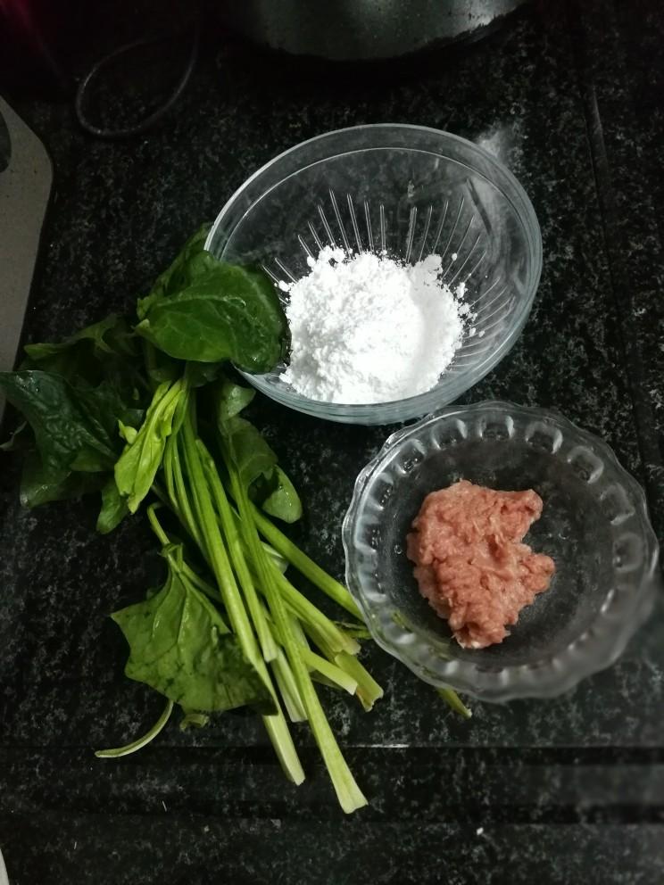 翡翠肠粉,准备食材料