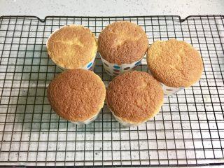 奥利奥向日葵纸杯蛋糕,纸杯蛋糕烤好后,出炉凉晾。
