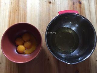 可可戚风蛋糕(八寸),将鸡蛋的蛋黄与蛋清分离,蛋清放在无水无油的打蛋盘中,待用
