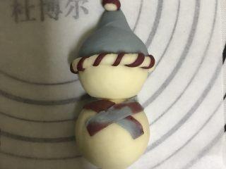 花式面点—圣诞雪人馒头,围在雪人脖子上