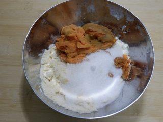 红薯芝麻脆饼, 加入红薯泥,白砂糖,盐混合揉成团