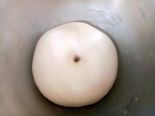椰蓉小餐包,面团发至2倍大,手指粘面粉在面团中间戳个洞,不回缩不塌陷证明已经发酵好了。