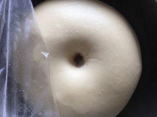 奶酪系列之:奶酪酸奶吐司,发至两倍大,手指沾些面粉戳洞,洞口不回缩不塌陷