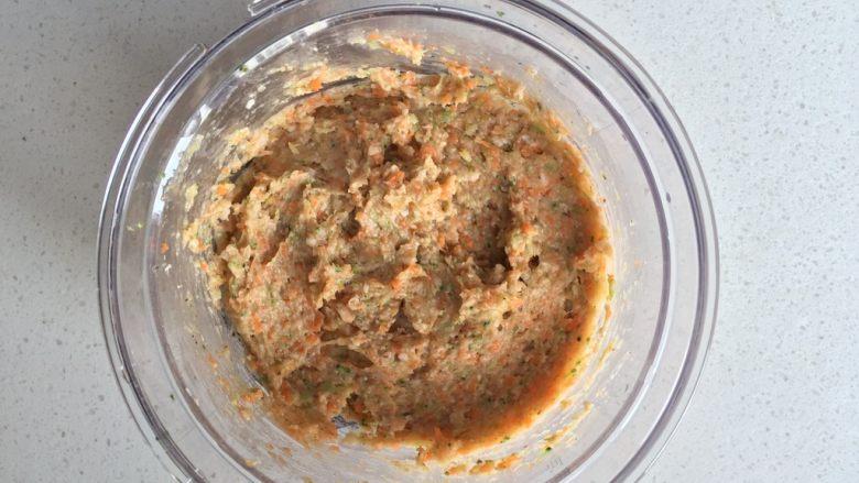 蔬菜鸡肉肠,顺时针搅拌均匀