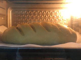 新疆大列巴,放入預熱好的烤箱 上下170,或者上170下160 45-55分鐘,15分鐘左右觀察上色蓋錫紙。 烤好之后不要取出來,在烤箱里多放一會,放到烤箱幾乎沒什么溫度再取出來,因為面包較大,避免夾生。