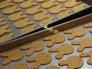 红薯饼干,用叉子在饼干表面扎些洞洞出来,防止饼干表面鼓起。