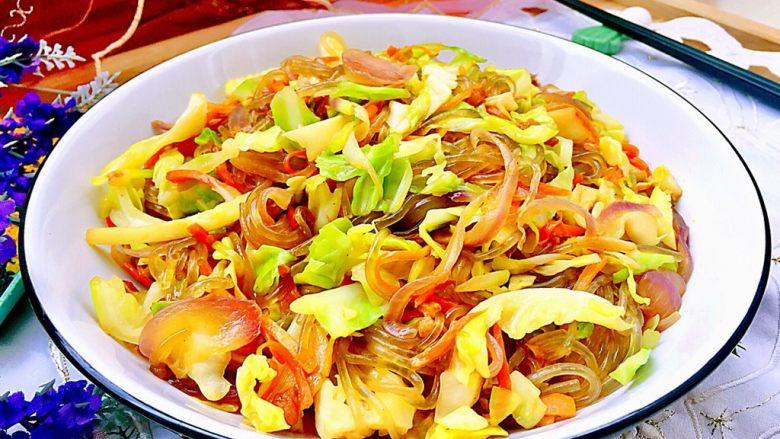 朴素的美味➕猪油渣包菜炒粉丝