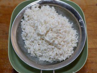 卡通小熊豆腐糯米包便当,浸泡好的糯米沥干水份。