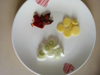西红柿炖牛肉,葱姜切片,准备八角和干辣椒备用。