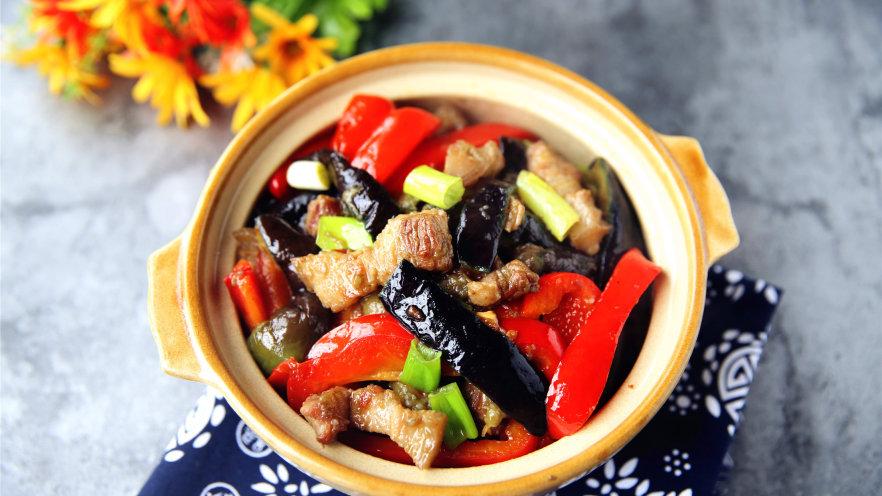 茄子甜椒烧五花肉