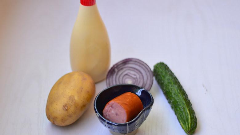 土豆泥沙拉,材料准备好
