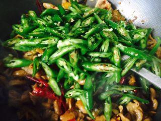 自制香辣干煸肥肠,加入青椒继续翻炒