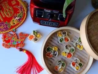 四喜蒸饺,美味多汁,鲜艳多彩的四喜蒸饺做好了,亲们学会了吗?