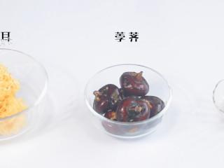 银耳百合荸荠,食材:银耳、百合、荸荠
